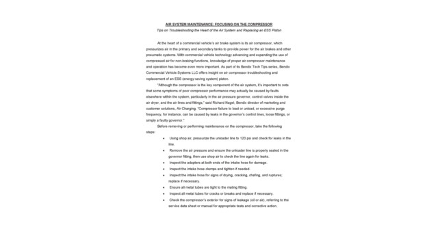 Air System Maintenance: Focusing on the Compressor