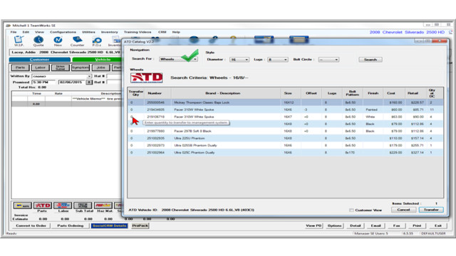 Manager SE Tire Catalog Integration
