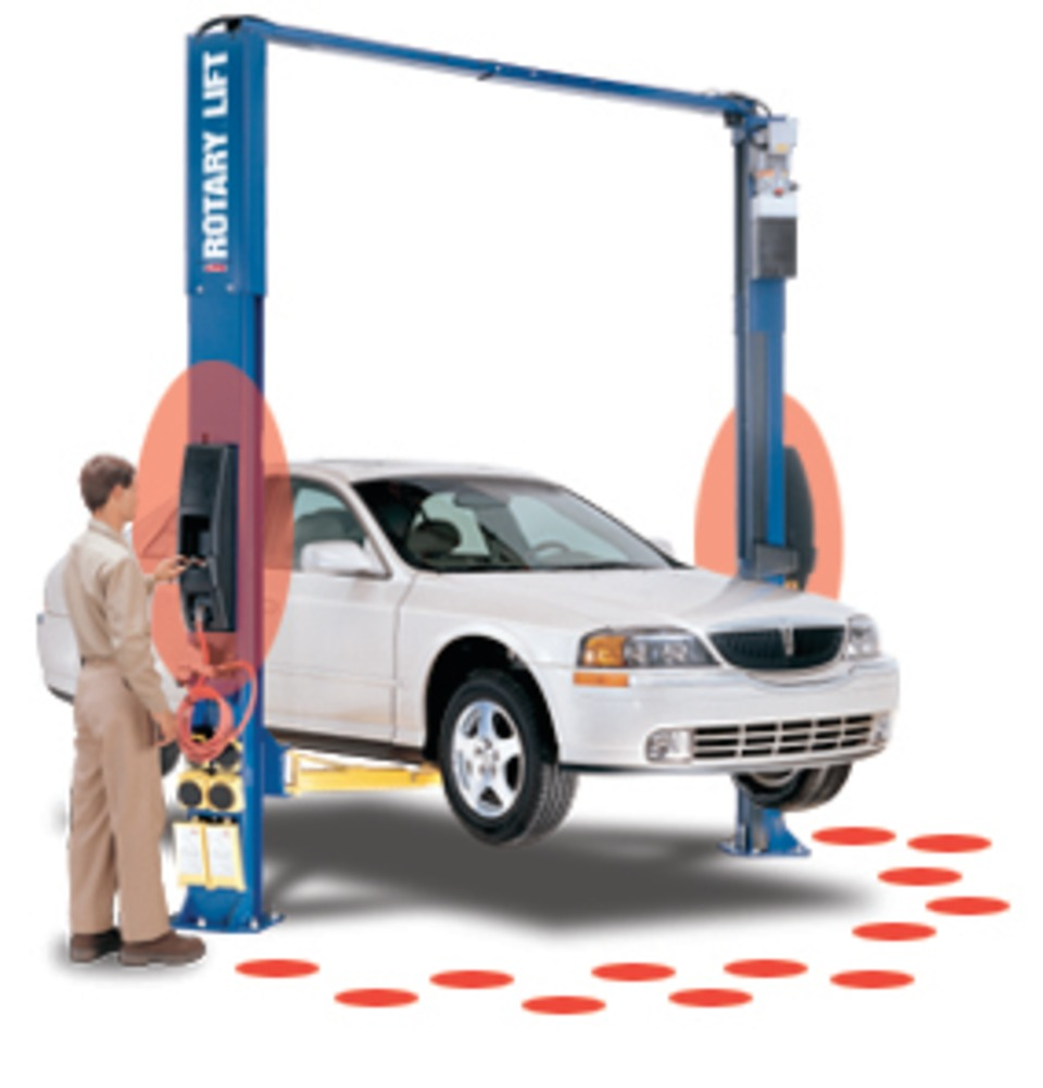 Rotary Lift 2-post vehicle lifts with push-button dual