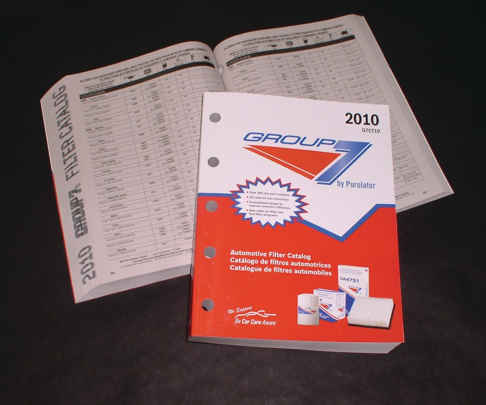 purolator's 2010 group 7 automotive filter catalog features expanded  coverage, with 200 additional part numbers and new filter programs