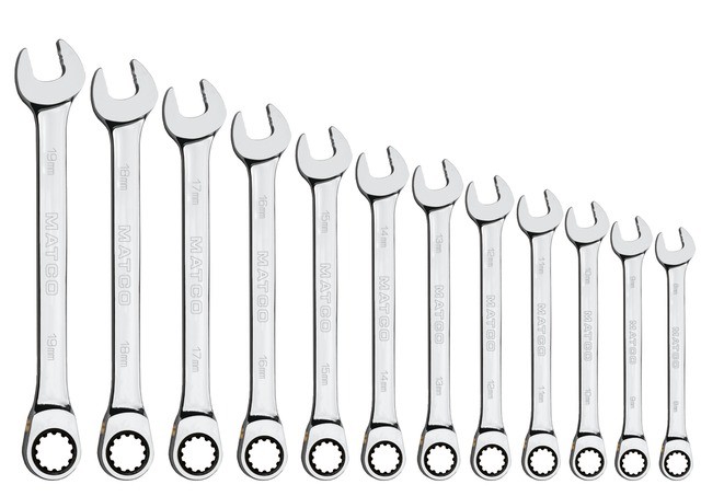 Matco Tools S9GRCM12 90 Tooth Combo Ratcheting Wrench Set