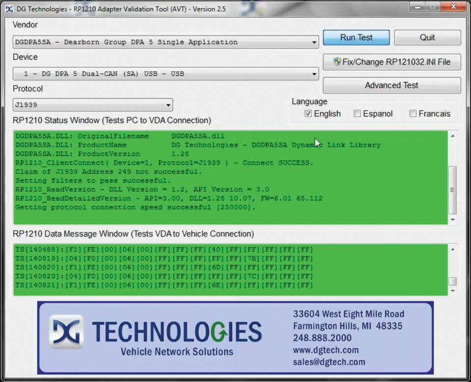 DG Technologies Adapter Validation Tool (AVT) in Diagnostic