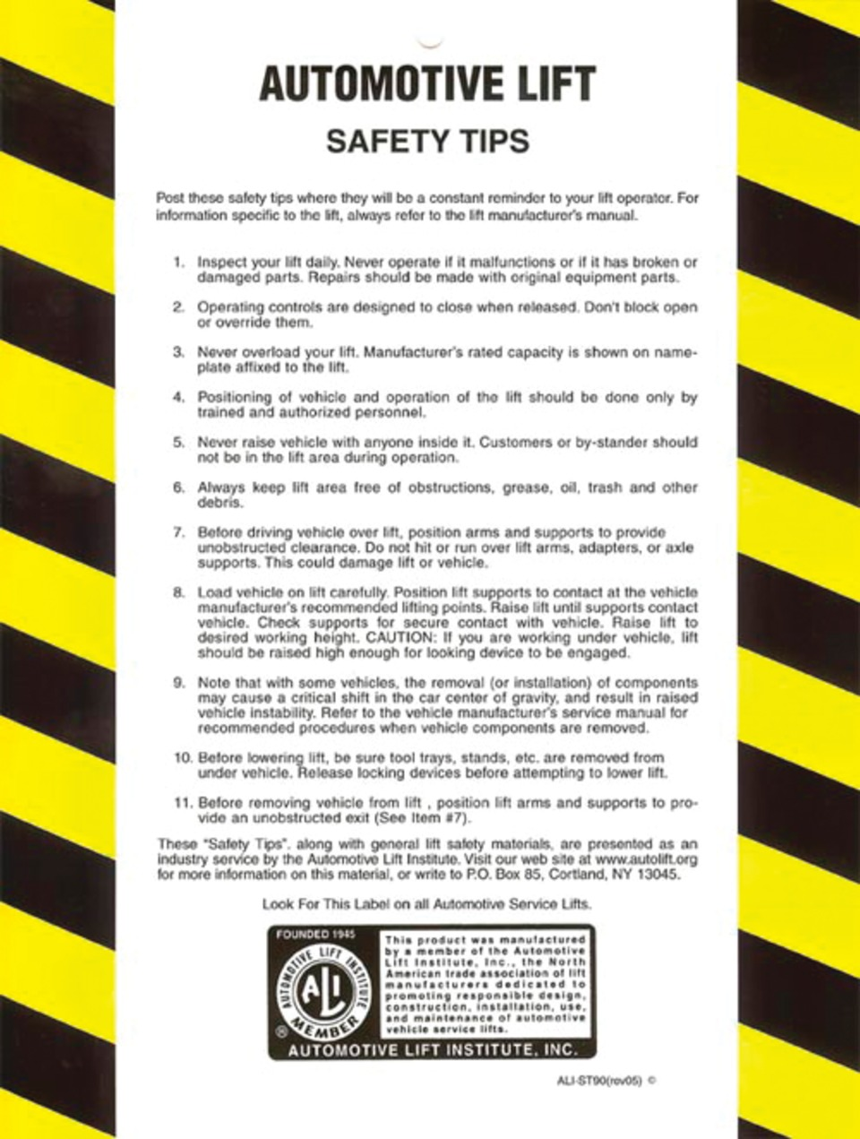 Tech Tip 10 Rules To Follow When Using Vehicle Lifts