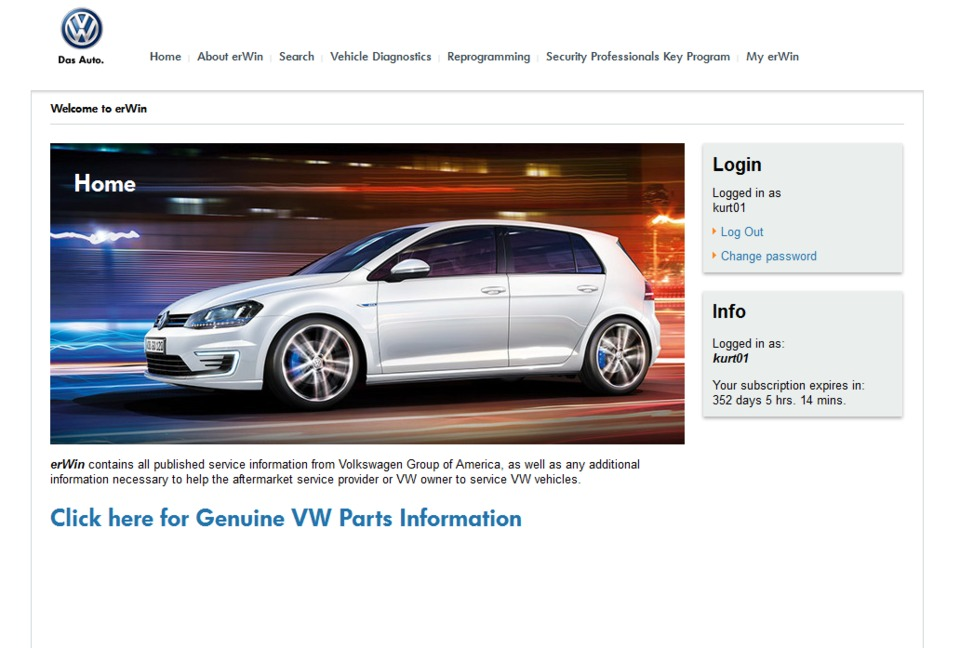 Volkswagen of America erWin service information source in Repair