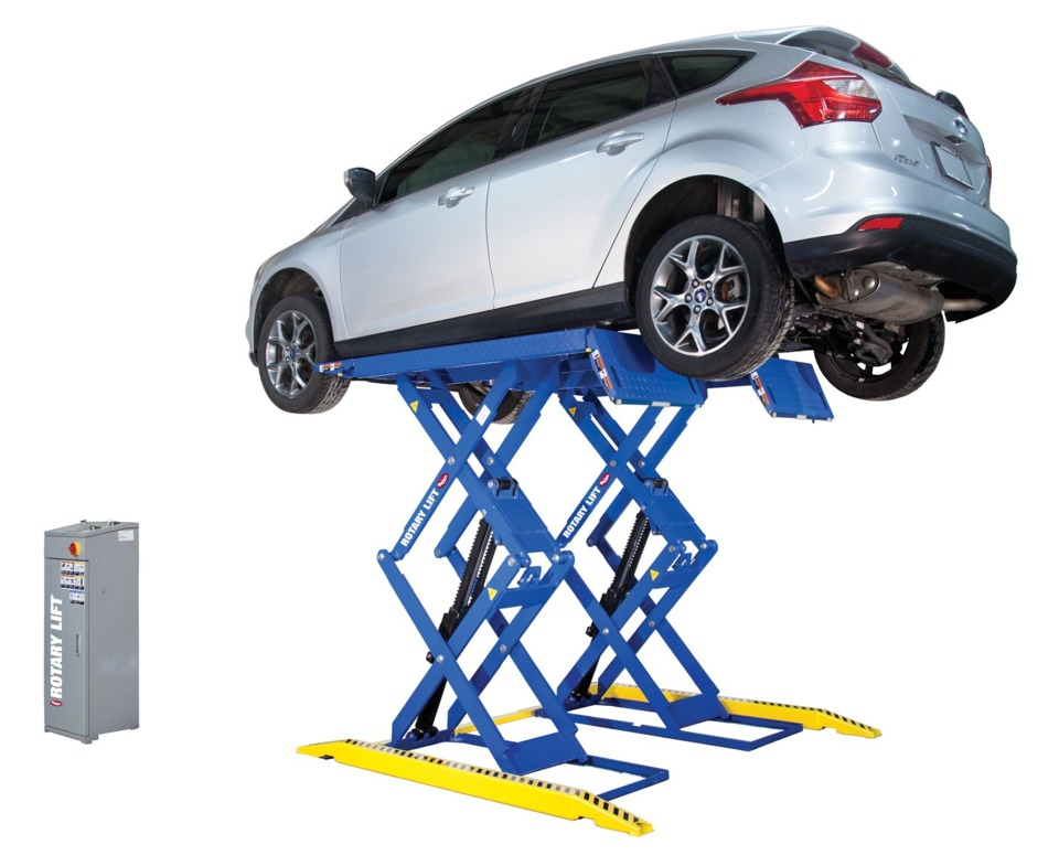 Automotive Lift Rentals : Rotary lift launches low profile double section scissor