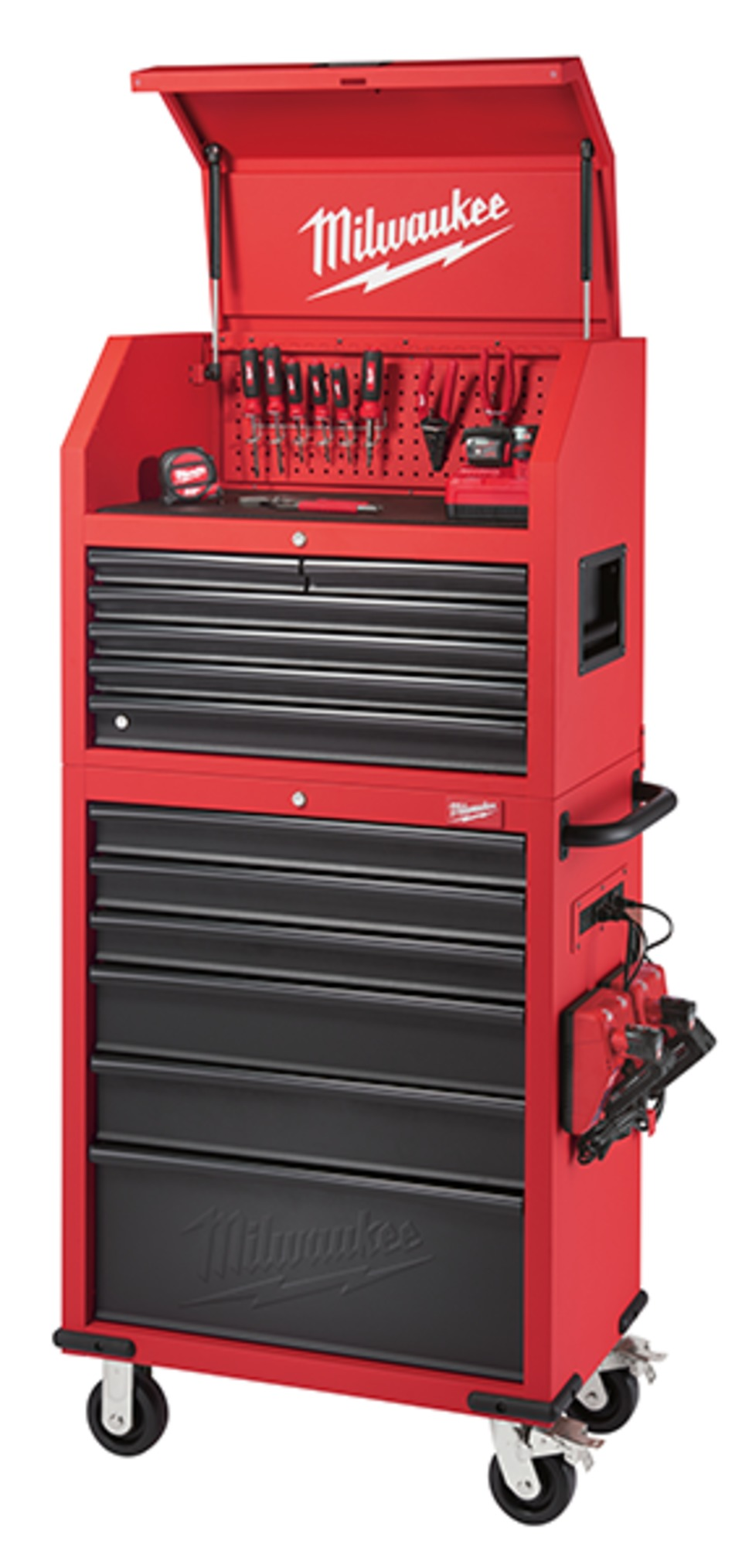 The Milwaukee Tool 30u201d Steel Storage Chest And Cabinet Is Designed With 12  Drawers With 100 Lb Soft Close Slides, Independent Locking Drawers And A  Pull Out ...