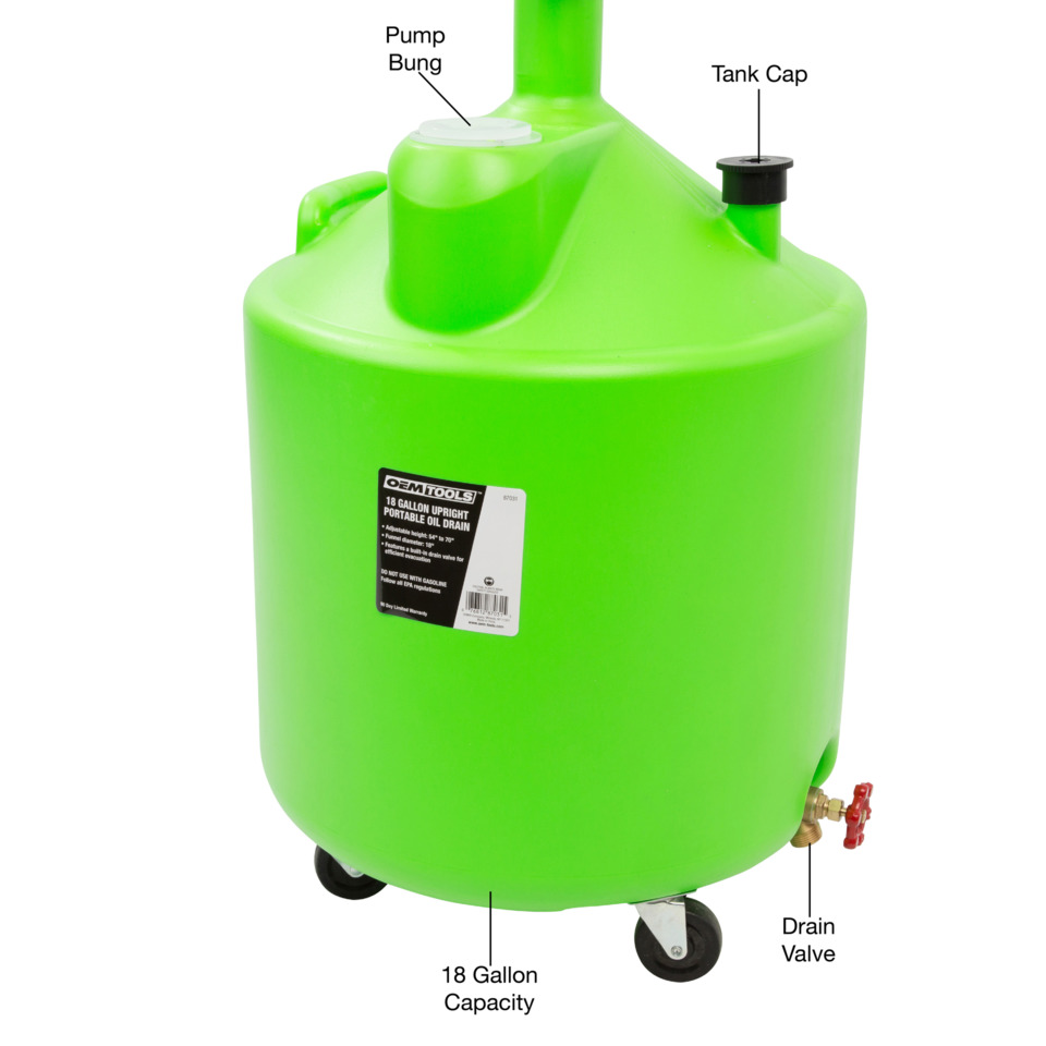 Oem Automotive Tools 18 Gal Upright Portable Oil Drain No