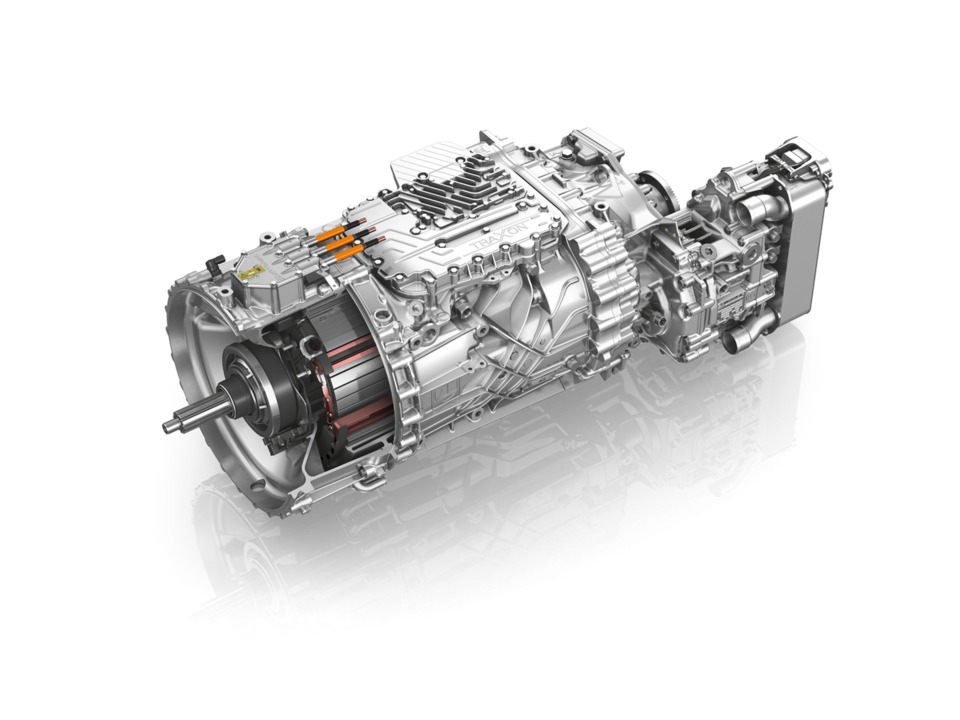 The Zf Traxon Hybrid Transmission Is Equipped With An Electric Motor Positioned Between Combustion Engine And Allowing