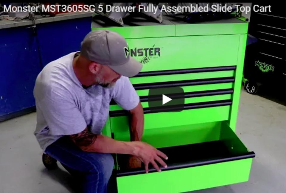 : 5-drawer fully assembled slide top cart