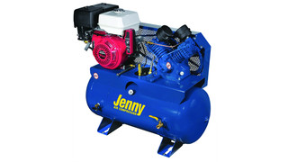Two-stage service vehicle compressors