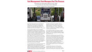 Fuel Management: Fleet Managers Feel The Pressure