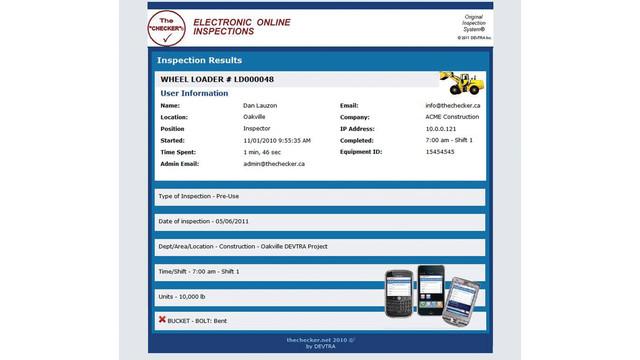 Checker Inspection checklists