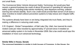 Proposed Truck Safety Bill would Give Fleets Tech Tax Credits