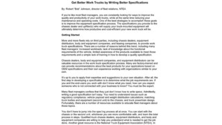 Get Better Work Trucks by Writing Better Specifications
