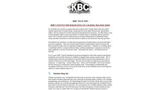 KBC'S TOP TEN TIPS FOR SETTING UP A SCHOOL MACHINE SHOP