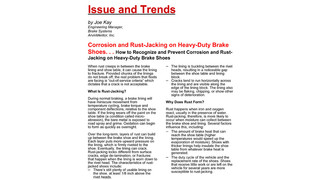 Corrosion and Rust-Jacking on Heavy-Duty Brake Shoes