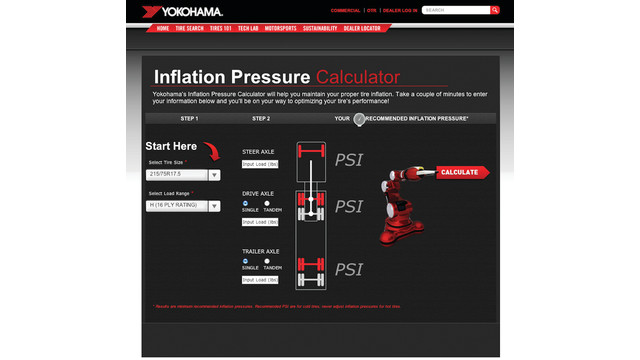 Yokohama launches inflation pressure calculator