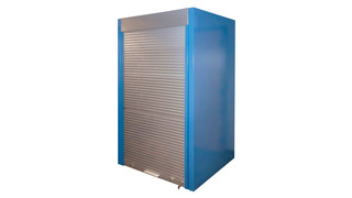 Storage wall system with aluminum tambour door