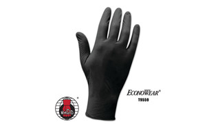EconoWear black disposable nitrile gloves, No. T9559