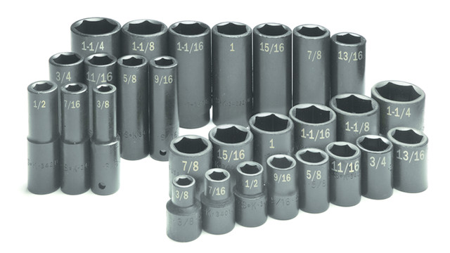 28 Piece 1/2 Drive 6 Point Standard and Deep Fractional Impact Socket Set, No. 4051