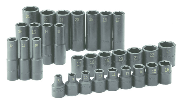 30 Piece 1/2 Drive 6 Point Standard and Deep Metric Impact Socket Set, No. 4053
