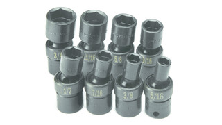 8 Piece 3/8 Drive 6 Point Swivel Fractional Impact Socket Set, No. 33300