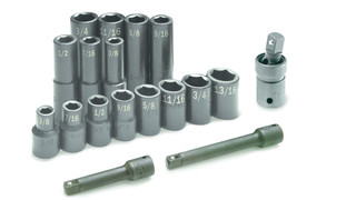 17 Piece 1/2 Drive 6-Point Fractional Impact Socket Set, No. 4050