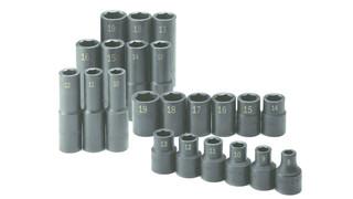 22 Piece 1/2 Drive 6 Point Standard and Deep Metric Impact Socket Set, No. 4052