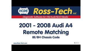 Learning key remotes on Audis with the VCDS from Ross Tech video