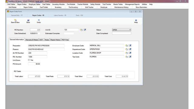 FleetWise VB Fleet Maintenance Software 6.2