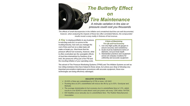 The butterfly effect on tire maintenance
