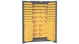 132 Polyethylene Hook-On Bins Steel Cabinet
