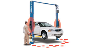 2-post vehicle lifts with push-button dual controls