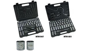 47-piece 1/4-drive No. MTN1047 and 51-piece 3/8-drive No. MTN1051 6-point SAE and Metric Socket Sets